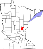 Map of Minnesota showing Kanabec County