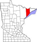 Map of Minnesota showing Lake County