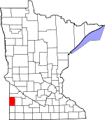 Map of Minnesota showing Lincoln County