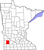Map of Minnesota showing Lyon County