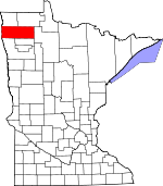 Map of Minnesota showing Marshall County