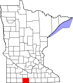 Map of Minnesota showing Martin County