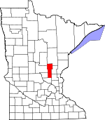 Map of Minnesota showing Mille Lacs County