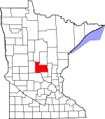 Map of Minnesota showing Morrison County
