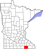 Map of Minnesota showing Mower County