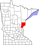 Map of Minnesota showing Pine County
