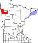 Map of Minnesota showing Polk County