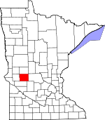 Map of Minnesota showing Pope County