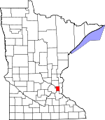 Map of Minnesota showing Ramsey County
