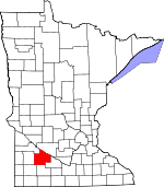 Map of Minnesota showing Redwood County