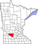 Map of Minnesota showing Renville County