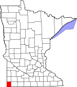 Map of Minnesota showing Rock County