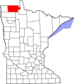 Map of Minnesota showing Roseau County