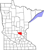 Map of Minnesota showing Sherburne County
