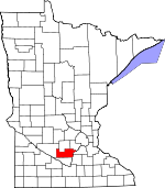 Map of Minnesota showing Sibley County
