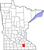 Map of Minnesota showing Steele County