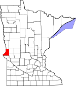 Map of Minnesota showing Traverse County