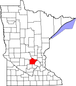 Map of Minnesota showing Wright County