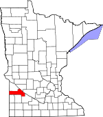 Map of Minnesota showing Yellow Medicine County
