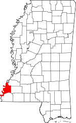 Map of Mississippi showing Adams County