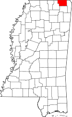 Map of Mississippi showing Alcorn County
