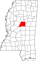 Map of Mississippi showing Attala County