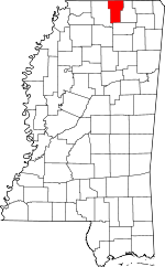 Map of Mississippi showing Benton County