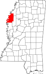 Map of Mississippi showing Bolivar County