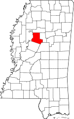 Map of Mississippi showing Carroll County