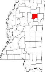 Map of Mississippi showing Chickasaw County