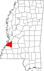 Map of Mississippi showing Claiborne County