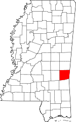 Map of Mississippi showing Clarke County