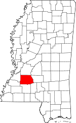 Map of Mississippi showing Copiah County