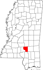 Map of Mississippi showing Covington County