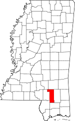 Map of Mississippi showing Forrest County
