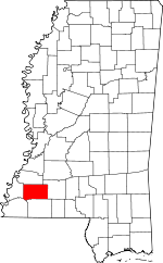 Map of Mississippi showing Franklin County