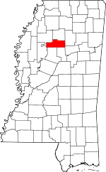 Map of Mississippi showing Grenada County
