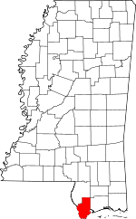 Map of Mississippi showing Hancock County