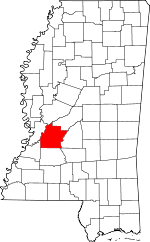 Map of Mississippi showing Hinds County