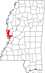 Map of Mississippi showing Issaquena County