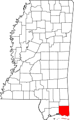 Map of Mississippi showing Jackson County