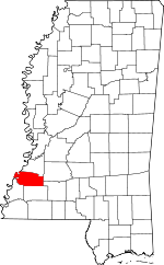 Map of Mississippi showing Jefferson County