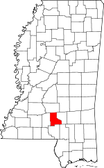 Map of Mississippi showing Jefferson Davis County