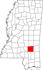 Map of Mississippi showing Jones County