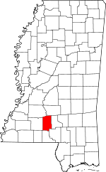 Map of Mississippi showing Lawrence County