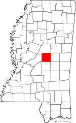 Map of Mississippi showing Leake County