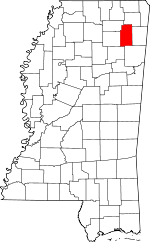 Map of Mississippi showing Lee County