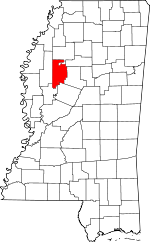 Map of Mississippi showing Leflore County