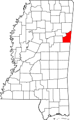 Map of Mississippi showing Lowndes County