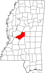 Map of Mississippi showing Madison County